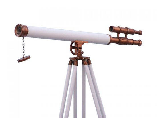 Floor Standing Antique Copper With White Leather Griffith Astro Telescope 65in.