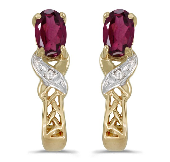 Certified 14k Yellow Gold Oval Rhodolite Garnet And Diamond Earrings