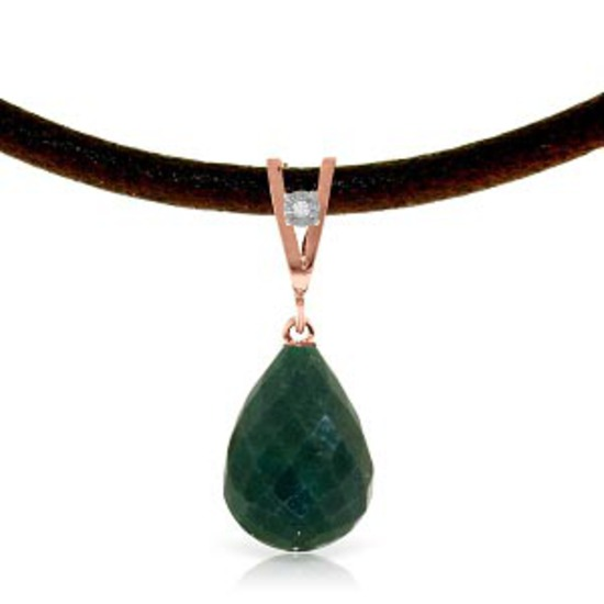 14K Solid Rose Gold & Leather Necklace withDiamond & Emerald
