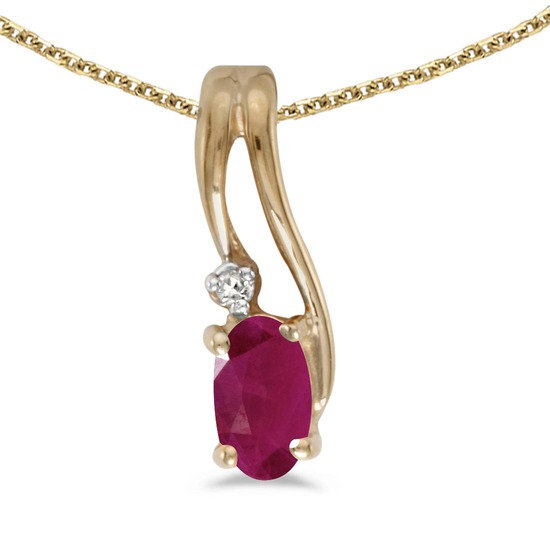 Certified 14k Yellow Gold Oval Ruby And Diamond Wave Pendant