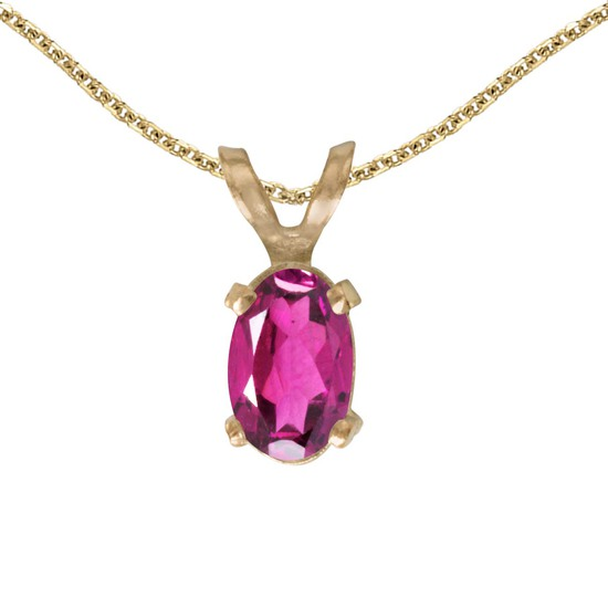 Certified 14k Yellow Gold Oval Pink Topaz Pendant