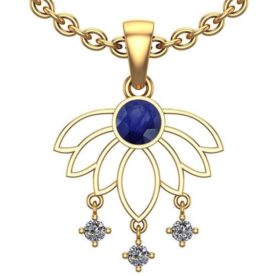 0.60 Ctw VS/SI1 Blue Sapphire And Diamond 14K Rose Gold Pendant