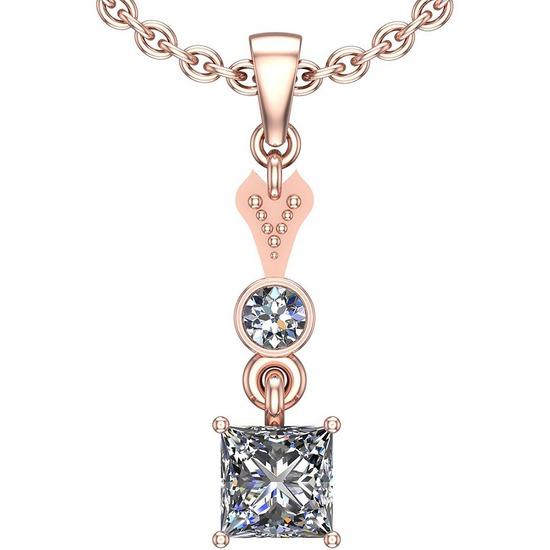 0.82 Ctw SI2/I1 Diamond Platinum 14K Rose Gold Plated Pendant