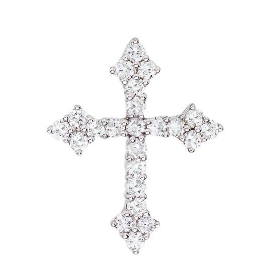 Certified 14K White Gold .53 CTW Diamond Cross Pendant 0.53 CTW