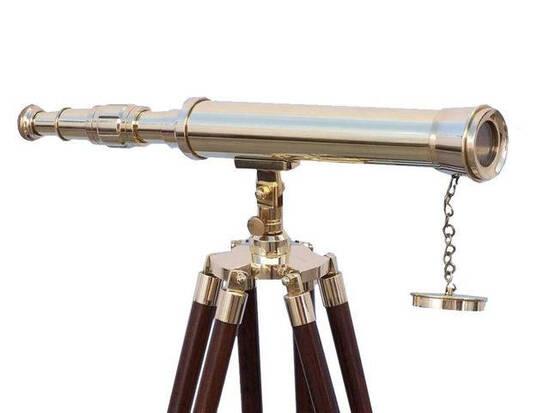Floor Standing Brass Harbor Master Telescope 50in.