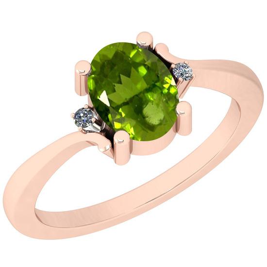 1.32 Ctw Peridot And Diamond I2/I3 14K Rose Gold Ring