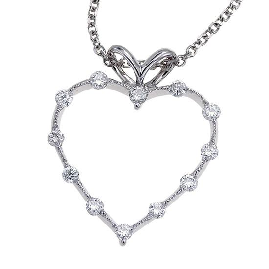 Certified 14K White Gold Diamond Heart Pendant (.25 carat) 0.25 CTW