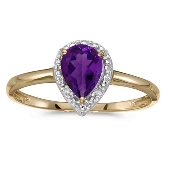 Certified 10k Yellow Gold Pear Amethyst And Diamond Ring