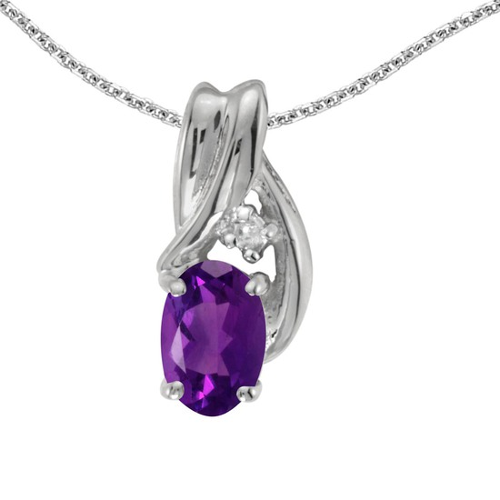 Certified 14k White Gold Oval Amethyst And Diamond Pendant