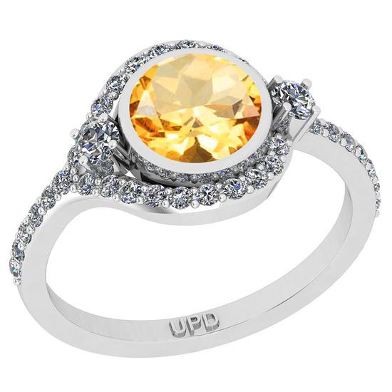 1.58 Ctw I2/I3 Citrine And Diamond 10K White Gold Engagement Ring