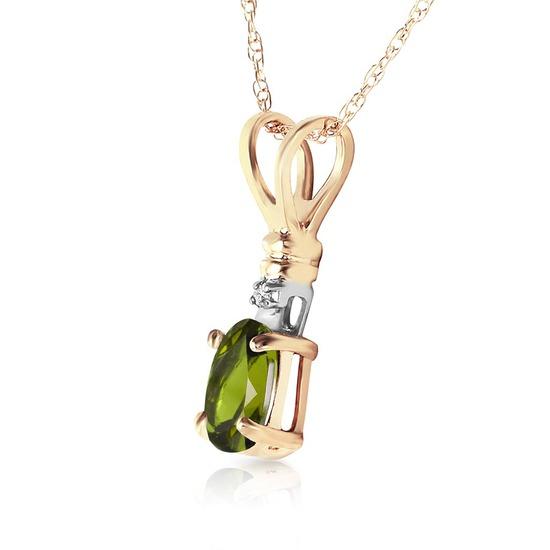 0.46 Carat 14K Solid Gold Love Murmur Peridot Diamond Necklace