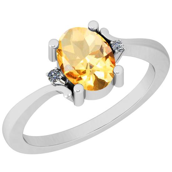1.32 Ctw Citrine And Diamond I2/I3 14K White Gold Ring