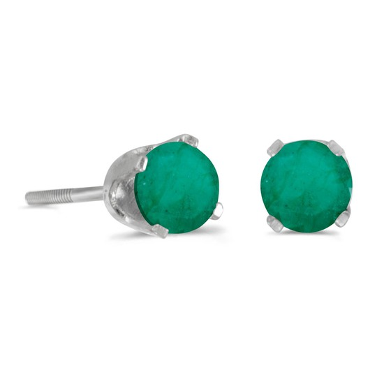 Certified 4 mm Round Emerald Stud Earrings in 14k White Gold