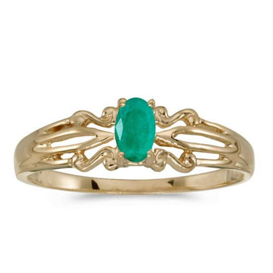 Certified 14k Yellow Gold Oval Emerald Ring