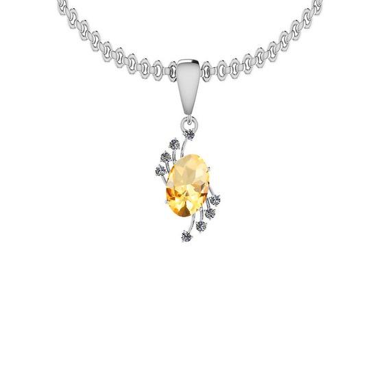 Certified 4.73 Ctw I2/I3 Citrine And Diamond 14K White Gold Pendant