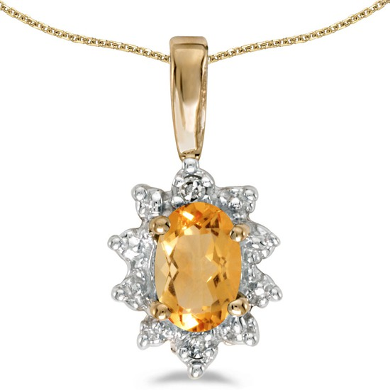 Certified 10k Yellow Gold Oval Citrine And Diamond Pendant