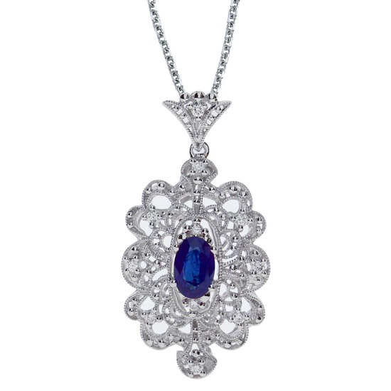 Certified 14k White Gold Sapphire and .10 ct Diamond Pendant