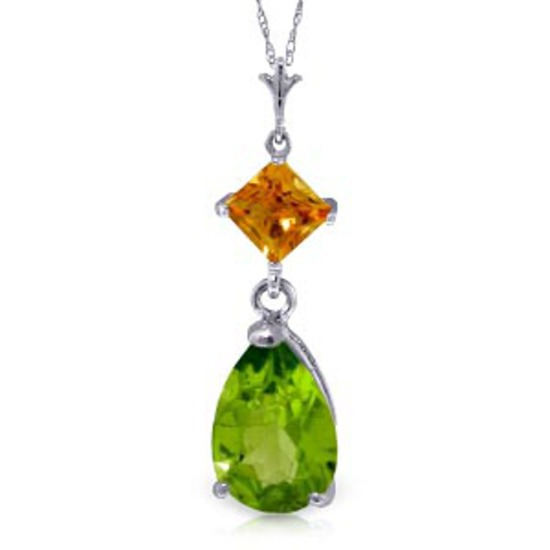 2 Carat 14K Solid White Gold Necklace Natural Citrine Peridot
