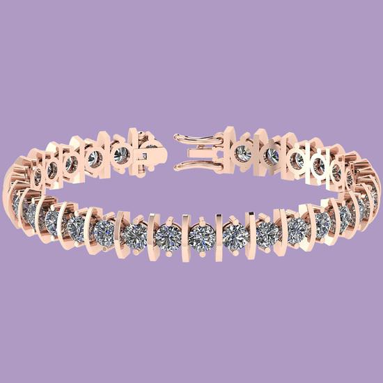 8.00 Ctw Diamond I1/I2 Prong Set 14K Rose Gold Bracelet