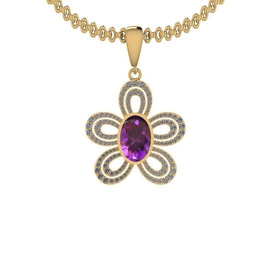 Certified 8.47 Ctw I2/I3 Amethyst And Diamond Style Prong & Bezel Set 14K Yellow Gold Pendant