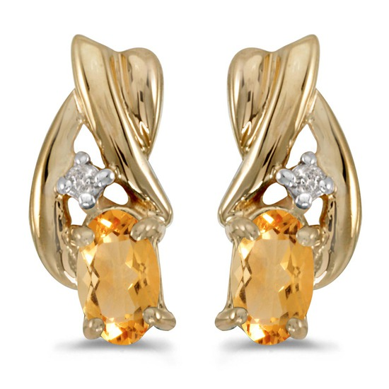 Certified 10k Yellow Gold Oval Citrine And Diamond Earrings 0.32 CTW