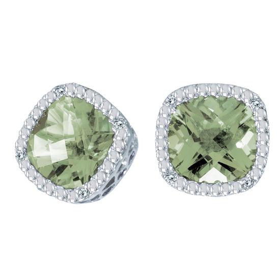 Certified 14k White Gold Cushion Cut Green Amethyst And Diamond Earrings