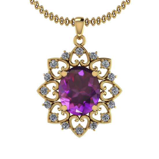 4.22 Ctw Amethyst And Diamond I2/I3 14K Yellow Gold Necklace