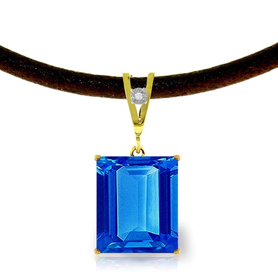 6.51 Carat 14K Solid Gold Solitude Blue Topaz Diamond Necklace