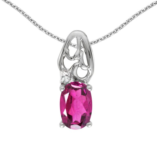 Certified 14k White Gold Oval Pink Topaz And Diamond Pendant