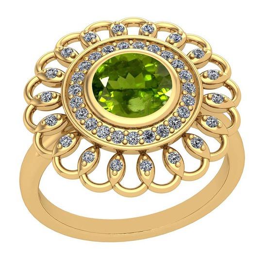 1.49 Ctw Peridot And Diamond I2/I3 10k Yellow Gold Vintage Style Ring