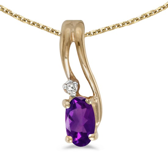 Certified 14k Yellow Gold Oval Amethyst And Diamond Wave Pendant
