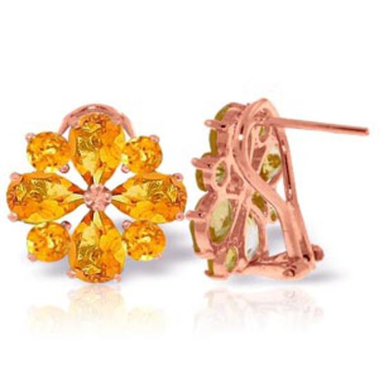 4.85 CTW 14K Solid Rose Gold Flower Citrine Clip Earrings