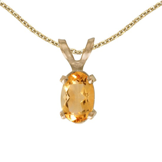 Certified 14k Yellow Gold Oval Citrine Pendant