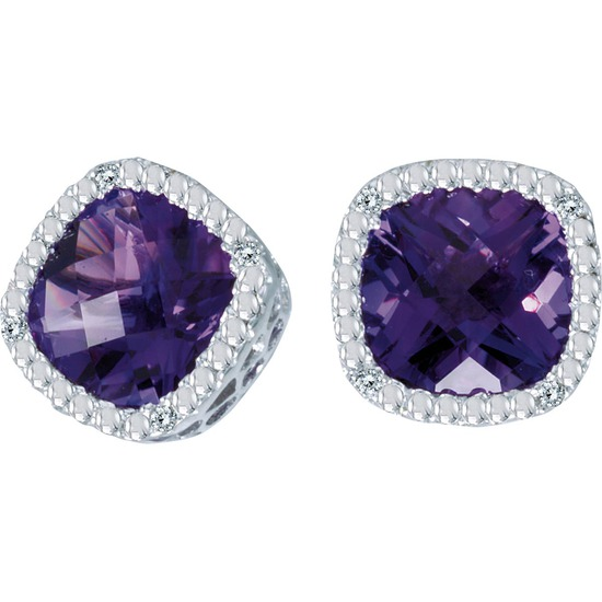 Certified 14k White Gold Cushion Cut Amethyst And Diamond Earrings