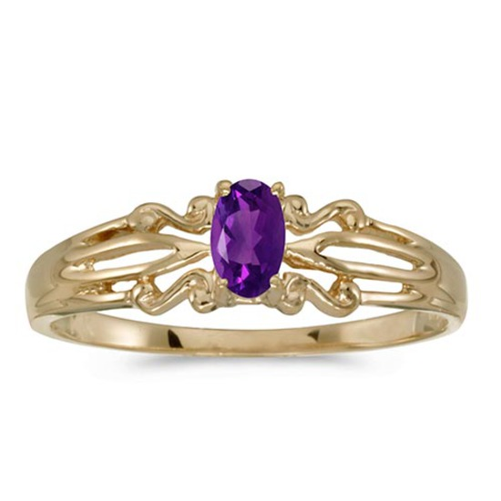 Certified 14k Yellow Gold Oval Amethyst Ring