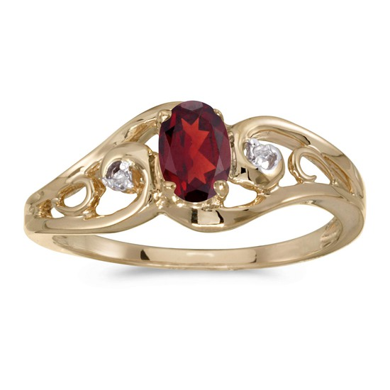 Certified 14k Yellow Gold Oval Garnet And Diamond Ring 0.48 CTW