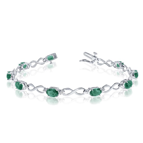 Certified 10K White Gold Oval Emerald and Diamond Bracelet 2.82 CTW