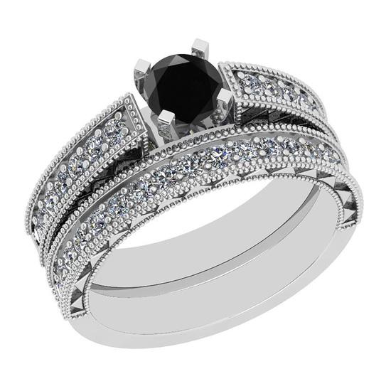 1.17 Ctw I2/I3 Treated Fancy Black And White Diamond 14K White Gold Bridal Wedding Ring