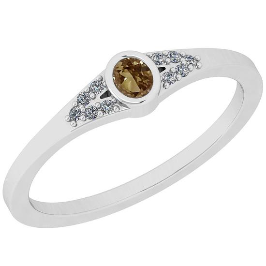 0.14 Ct Natural Brown Diamond I2/I3And White Diamond I2/I3 18k White Gold Anniversary Ring