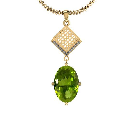 3.07 Ctw Peridot And Diamond I2/I3 10k Yellow Gold Pendant