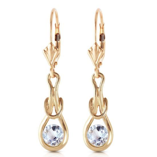 1.3 Carat 14K Solid Gold Leverback Earrings Natural Aquamarine
