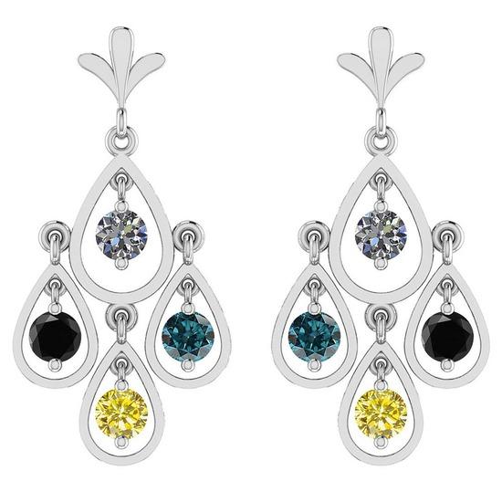 4.00 Ctw I2/I3 Treated Fancy Yellow And White Diamond 14K White Gold Earrings