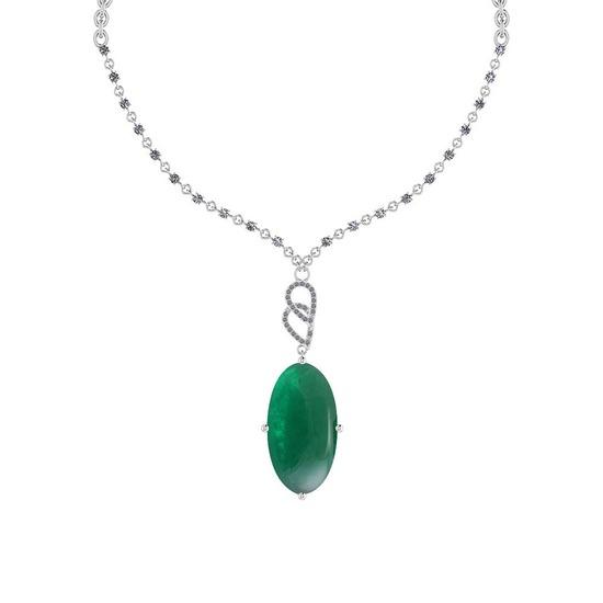 24.59 Ctw VS/SI1 Emerald And Diamond 14k White Gold Victorian Style Necklace