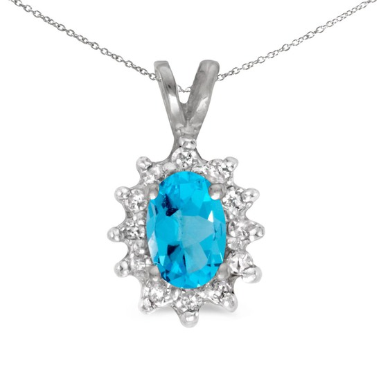 Certified 10k White Gold Oval Blue Topaz And Diamond Pendant