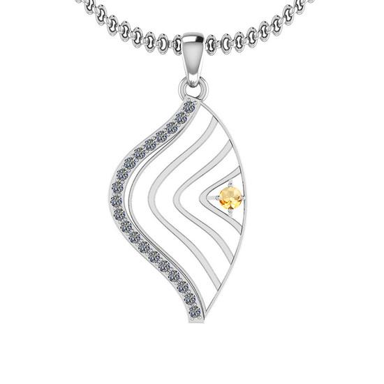 0.18 Ctw VS/SI1 Citrine And Diamond 10K White Gold Necklace