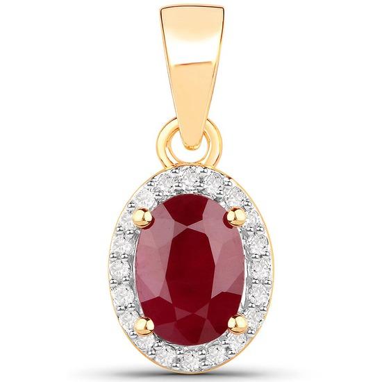 1.04 Carat Genuine Ruby and White Diamond 14K Yellow Gold Pendant
