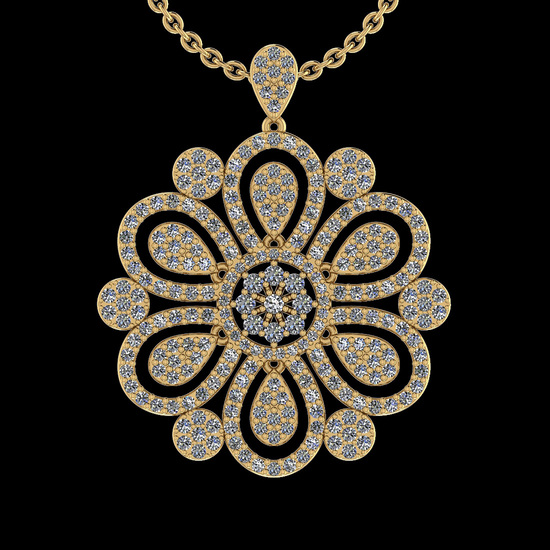 1.26 Ctw I2/I3 Diamond 10K Yellow Gold Victorian Style Pendant