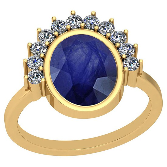 3.28 CtwBlue Sapphire And Diamond I2/I3 10K Yellow Gold Vintage Style Ring