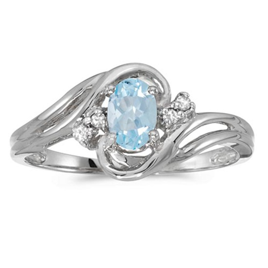 Certified 14k White Gold Oval Aquamarine And Diamond Ring