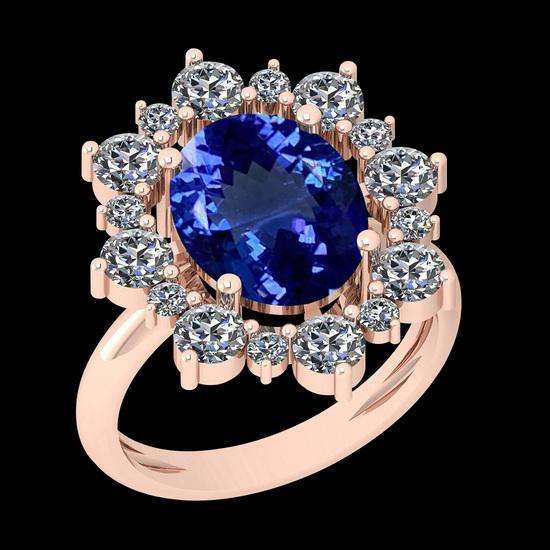5.79 Ctw VS/SI1 Tanzanite And Diamond 10K Rose Gold Vintage Style Ring